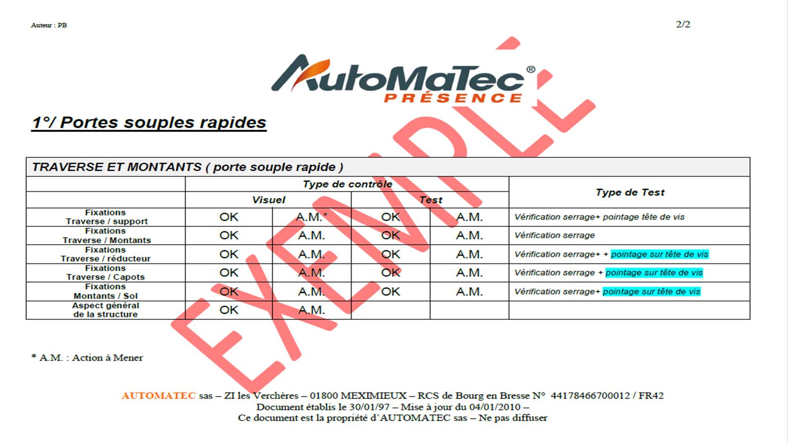Procédure Contrat de maintenance équipement accès industriel